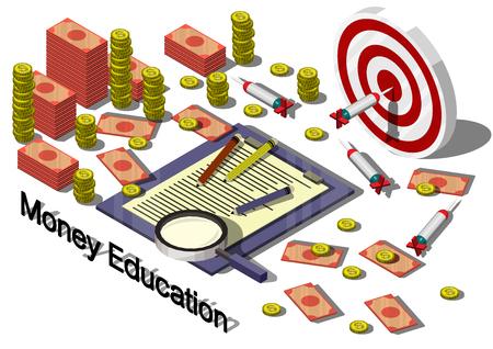 Illustration der Infografik Geld Ausstattungskonzept in isometrischer 3D-Grafik