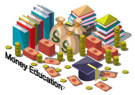 illustration of info graphic money equipment concept in isometric 3D graphic
