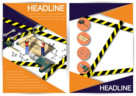 vector sign under construction: Creative construction  Template Flyer Brochure Vector Paper Design Template for infographics and banners concept