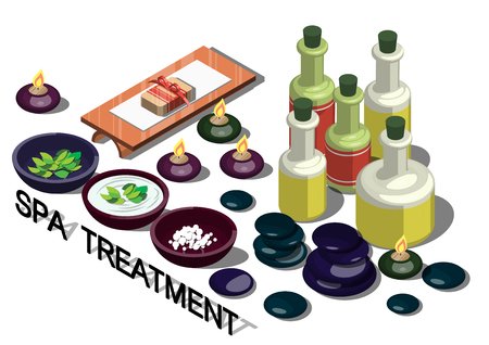 rock salt: illustration of info graphic spa treatment concept in isometric graphic Illustration
