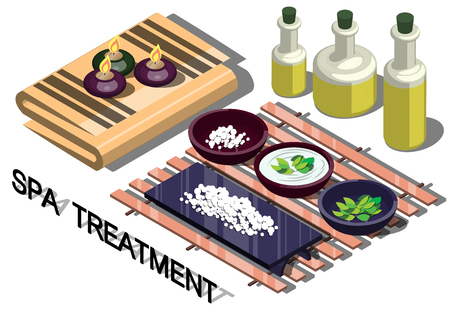 treatment: illustration of info graphic spa treatment concept in isometric graphic Illustration