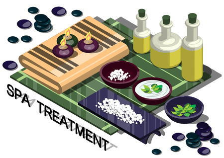 spa treatment: illustration of info graphic spa treatment concept in isometric graphic Illustration