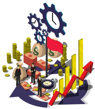 management concept: Ilustraci�n del concepto de informaci�n gr�fica de gesti�n de dinero en gr�fico isom�trico Vectores