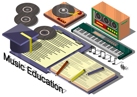 music education: illustration of info graphic music education concept in isometric graphic