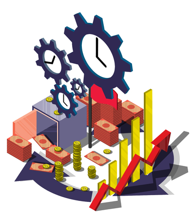 investment concept: illustration of info graphic money management concept in isometric graphic