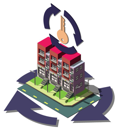 estate agent: illustration of info graphic real estate agent concept in isometric graphic