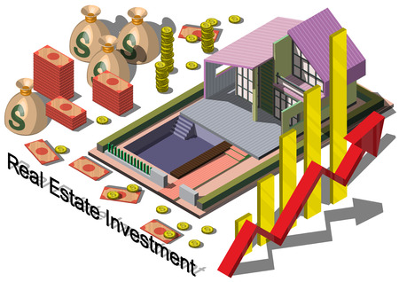real estate investment: illustration of info graphic real estate investment concept in isometric graphic