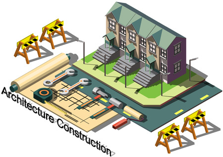 modern architecture: illustration of info graphic architecture construction concept in isometric graphic Illustration