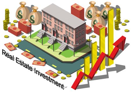 investment concept: illustration of info graphic real estate investment concept in isometric graphic