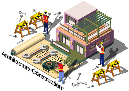 urban architecture: illustration of info graphic architecture construction concept in isometric graphic Illustration