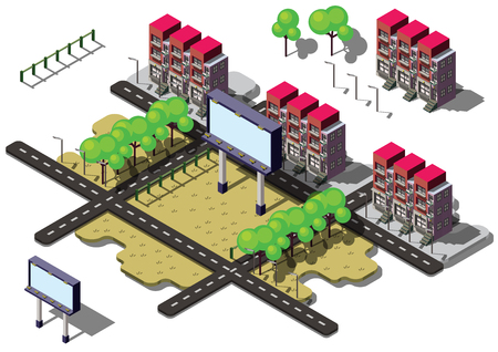 crowd happy people: illustration of info graphic billboard urban city concept in isometric graphic