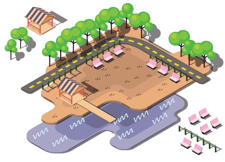 crowd happy people: illustration of info graphic urban park concept in isometric graphic