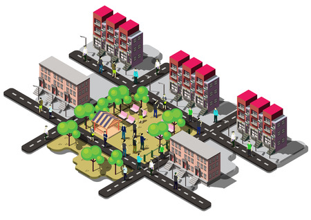 illustration of info graphic urban city concept in isometric graphic Vettoriali