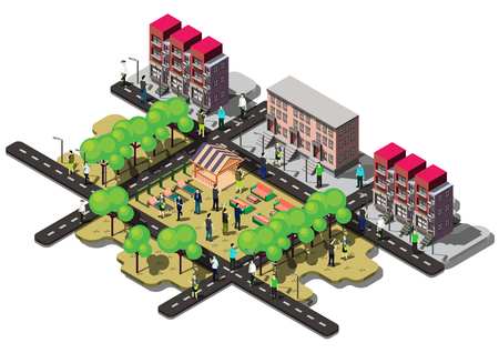aerial view: illustration of info graphic urban city concept in isometric graphic Illustration