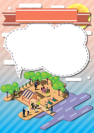 lawn party: illustration of info graphic urban park concept in isometric graphic
