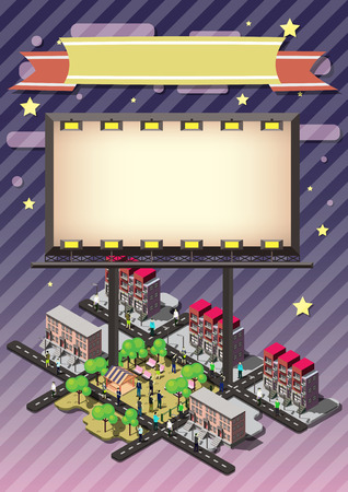 outdoor advertising construction: illustration of info graphic billboard urban city concept in isometric graphic