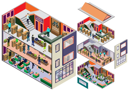 party design: illustration of info graphic interior  room concept in isometric graphic