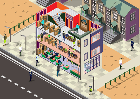 modern office interior: illustration of info graphic interior  room concept in isometric graphic