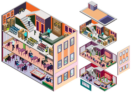 shop floor: illustration of info graphic interior  room concept in isometric graphic
