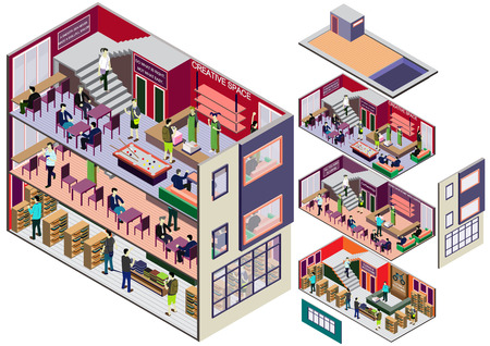 office plan: illustration of info graphic interior  room concept in isometric graphic