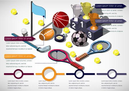 team sports: Ilustración del concepto de información gráfica de artículos deportivos en el gráfico isométrico