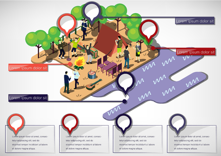 summer holiday: illustration of info graphic urban park concept in isometric graphic