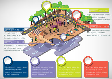 illustrated: illustration of info graphic urban park concept in isometric graphic