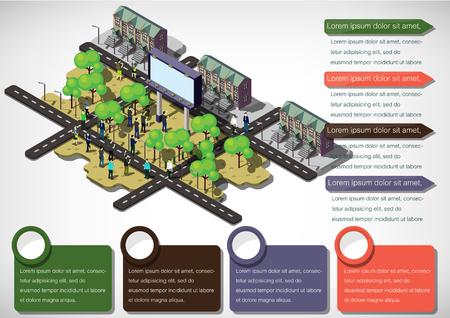 internet traffic: illustration of info graphic urban city concept in isometric graphic Illustration