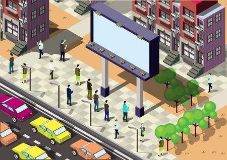 Illustration der Infografik städtischen Stadt-Konzept in isometrische Grafik