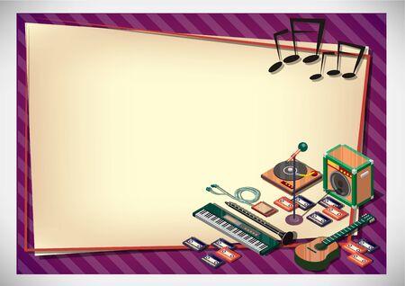 keyboard instrument: Creative music Paper Design Template
