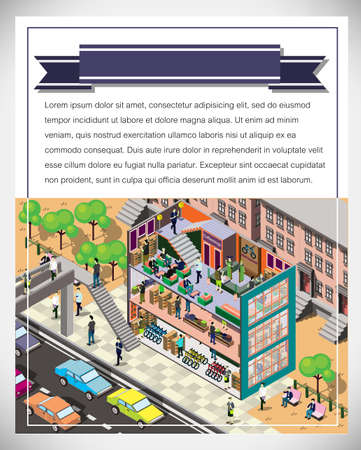 urban city: illustration of info graphic  urban city concept in isometric graphic