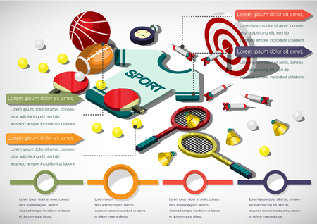 salud y deporte: Ilustración del concepto de información gráfica de artículos deportivos en el gráfico isométrico