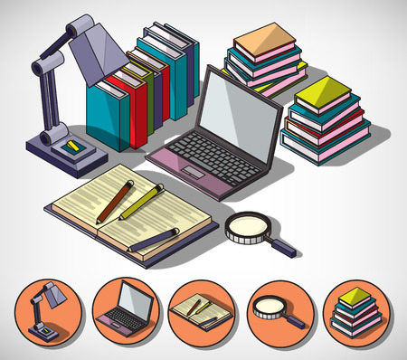 bag cartoon: illustration of infographic education concept in isometric graphic