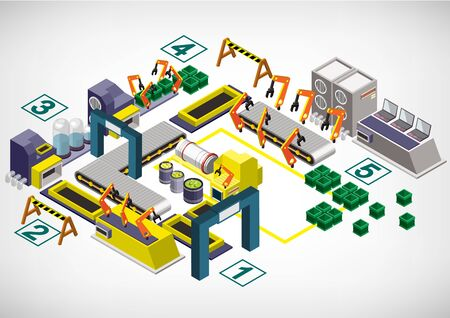 building industry: illustration of info graphic factory equipment concept in isometric 3D graphic