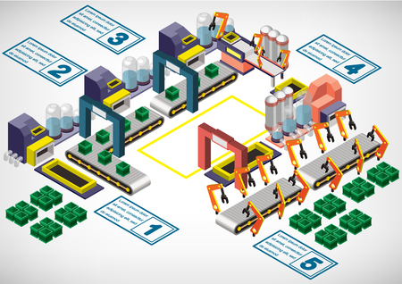 factory floor: illustration of info graphic factory equipment concept in isometric 3D graphic