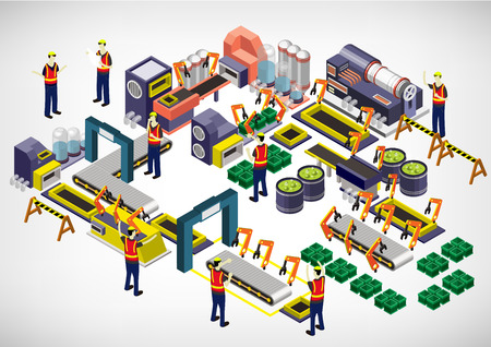 warehouse interior: illustration of info graphic factory equipment concept in isometric 3D graphic