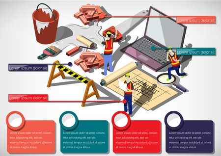 web graphics: illustration of info graphic house structure concept in isometric graphic Illustration