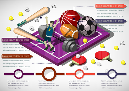 soccer field: illustration of info graphic sports equipment concept in isometric graphic