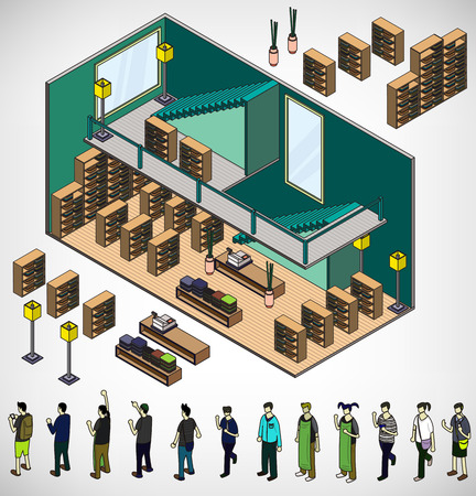 cartoon worker: illustration of info graphic interior  room concept in isometric graphic