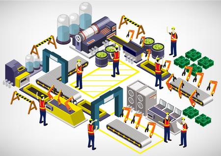 illustration de notion d'info de l'équipement de l'usine graphique 3D isométrique graphique Vecteurs