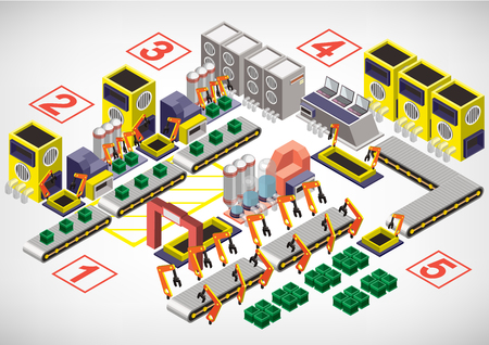 warehouse equipment: illustration of info graphic factory equipment concept in isometric 3D graphic