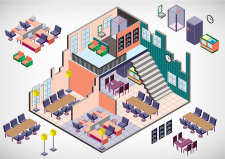 white house: illustration of info graphic interior room concept in isometric graphic
