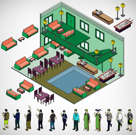 house party: illustration of info graphic interior room concept in isometric graphic