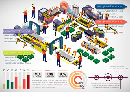 illustration of info graphic factory equipment concept in isometric 3D graphic