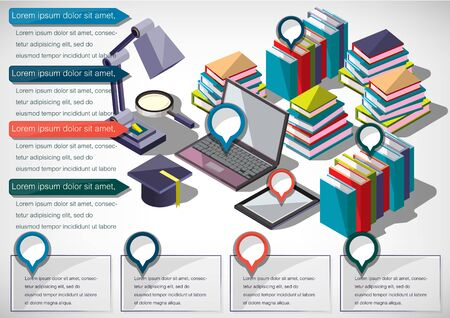 vintage background: illustration of infographic education concept in isometric graphic