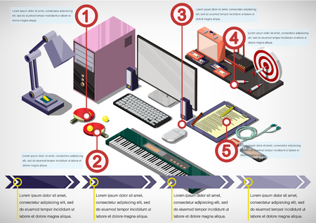business space: illustration of info graphic interior office concept in isometric graphic Illustration