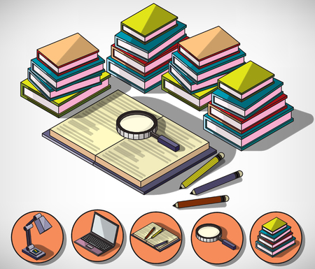 education concept: illustration of infographic education concept in isometric graphic