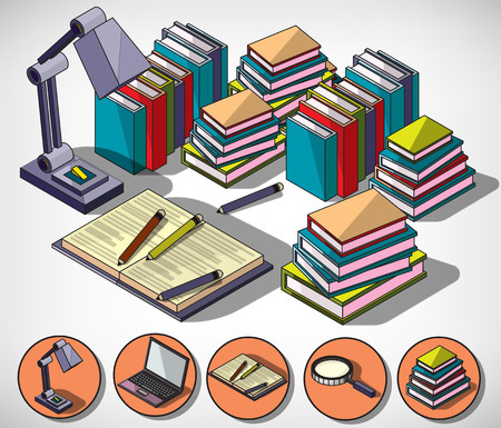 college education: illustration of infographic education concept in isometric graphic