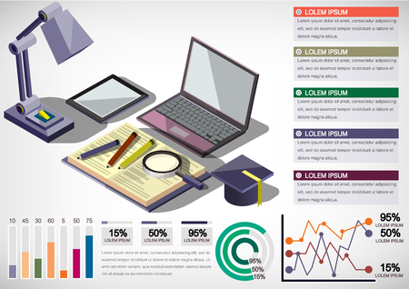 background information: illustration of info graphic interior office concept in isometric graphic Illustration