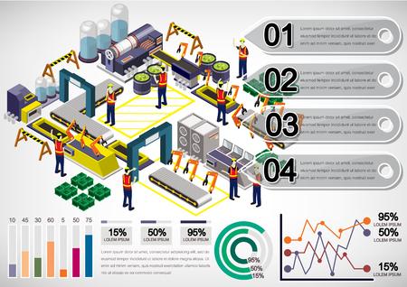 illustration de notion d'info de l'équipement de l'usine graphique 3D isométrique graphique